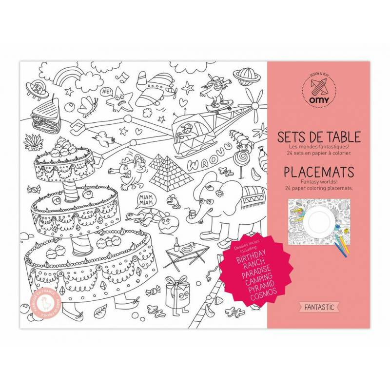 Sets de table colorier fantastic i love my kids for Set de table pour enfant