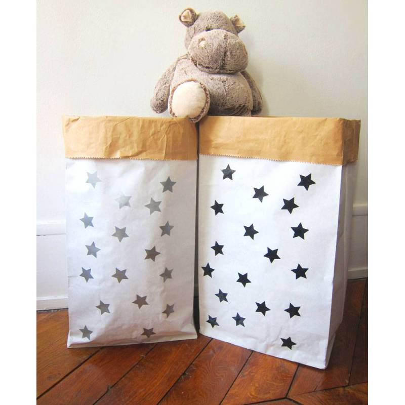 sac de rangement en papier petites etoiles monpetitzor ol i love my kids cadeaux. Black Bedroom Furniture Sets. Home Design Ideas